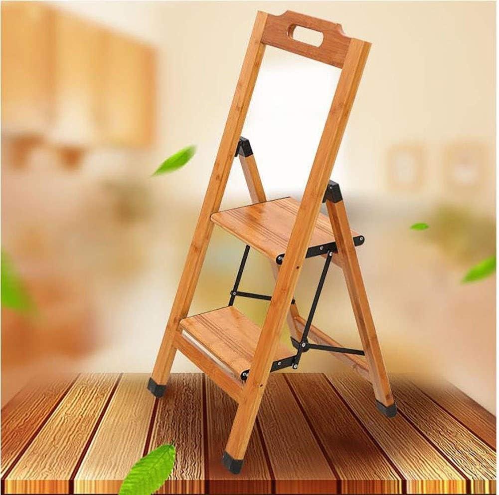 GAIXIA-Taburete de Escalera Escalera móvil de bambú Plegable con Dos peldaños y Escalera de Madera Antideslizante en el Piso de la barandilla de Seguridad: Amazon.es: Electrónica