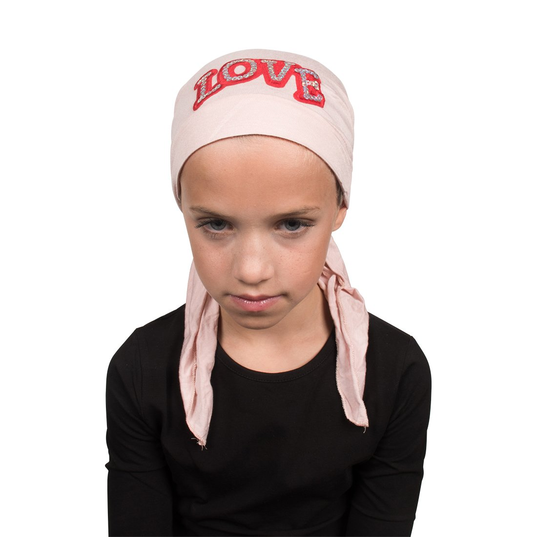 Sequin Love Applique on Child's Pretied Head Scarf Cancer Cap Light Pink