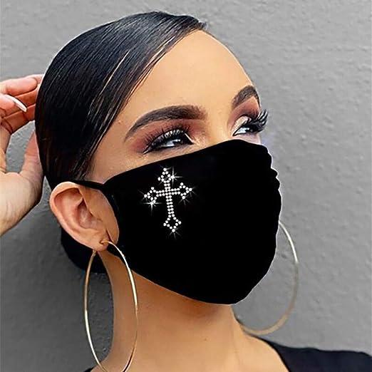 Damen Waschbar mit Motiv Baumwolle Glitzer Wiederverwendbar Atmungsaktiv Schals Halstuch Myun Gl/änzend Strass Mundschutz
