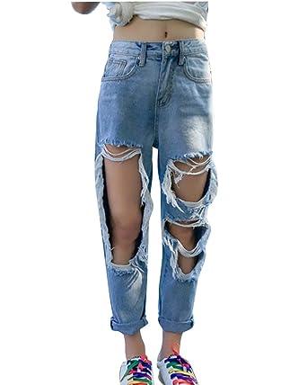 6a5657be10d DianShao Women Pants Wide Leg Boyfriend Jeans Mom Jeans Knee Ripped  Distressed Denim LightBlue S