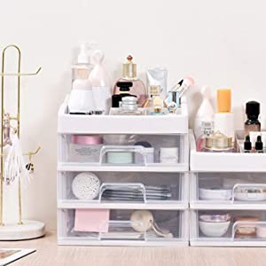 Multi-Layer Cosmetics Dust-Proof Desktop Drawer Type Skin Care Products Rack