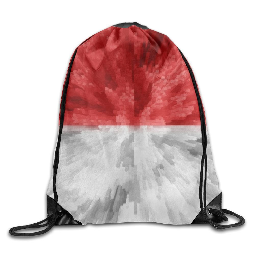 Indonesia Flag Drawstring Backpack Rucksack Shoulder Bags Training Gym Sack For Man And Women
