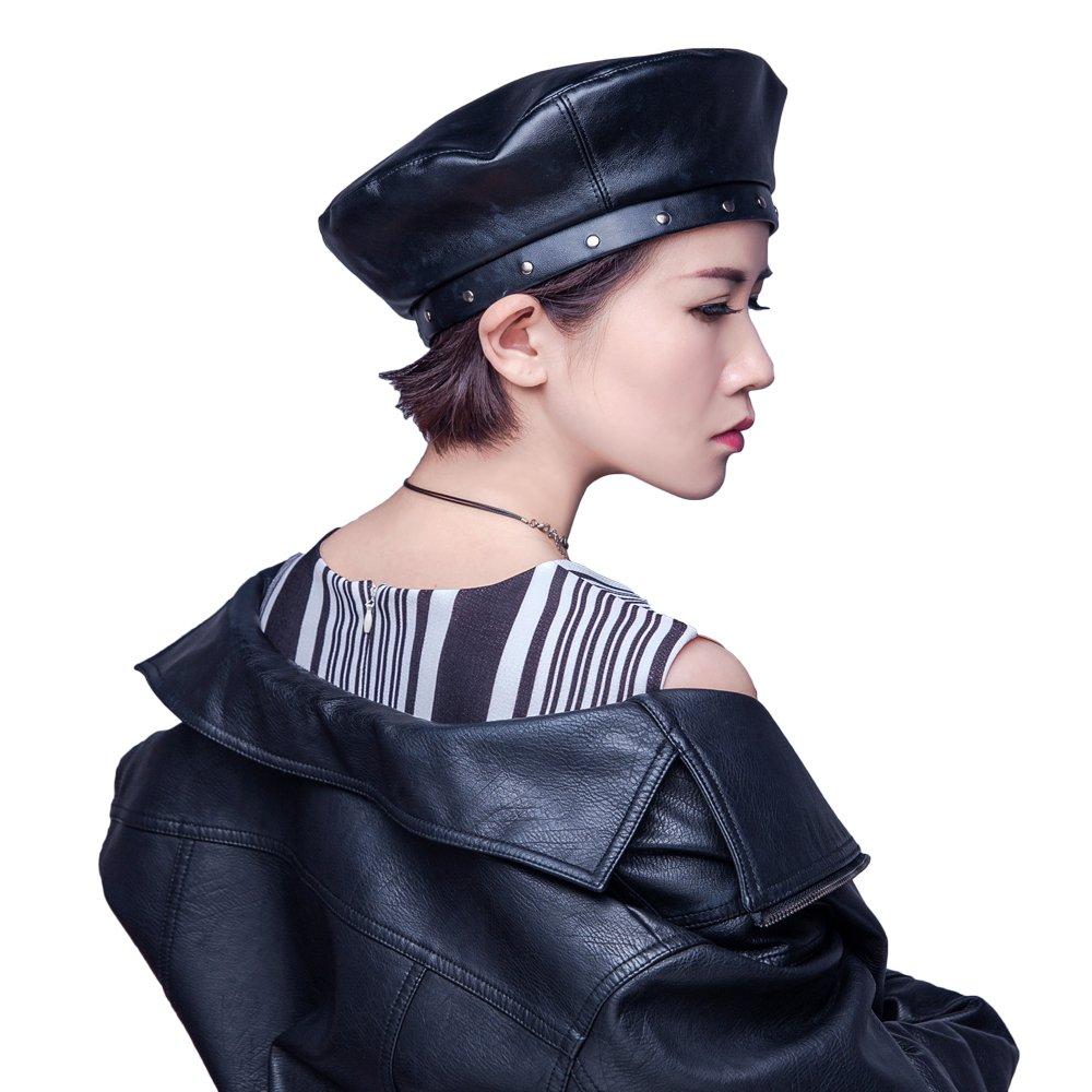 JH JOEJERRY Women Pu Leahter Beret Hat Black Harajuku Style Painter Hat Cap