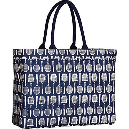 (rockflowerpaper Wimbledon Tennis Navy Canvas Carryall Tote Shoulder Bag)