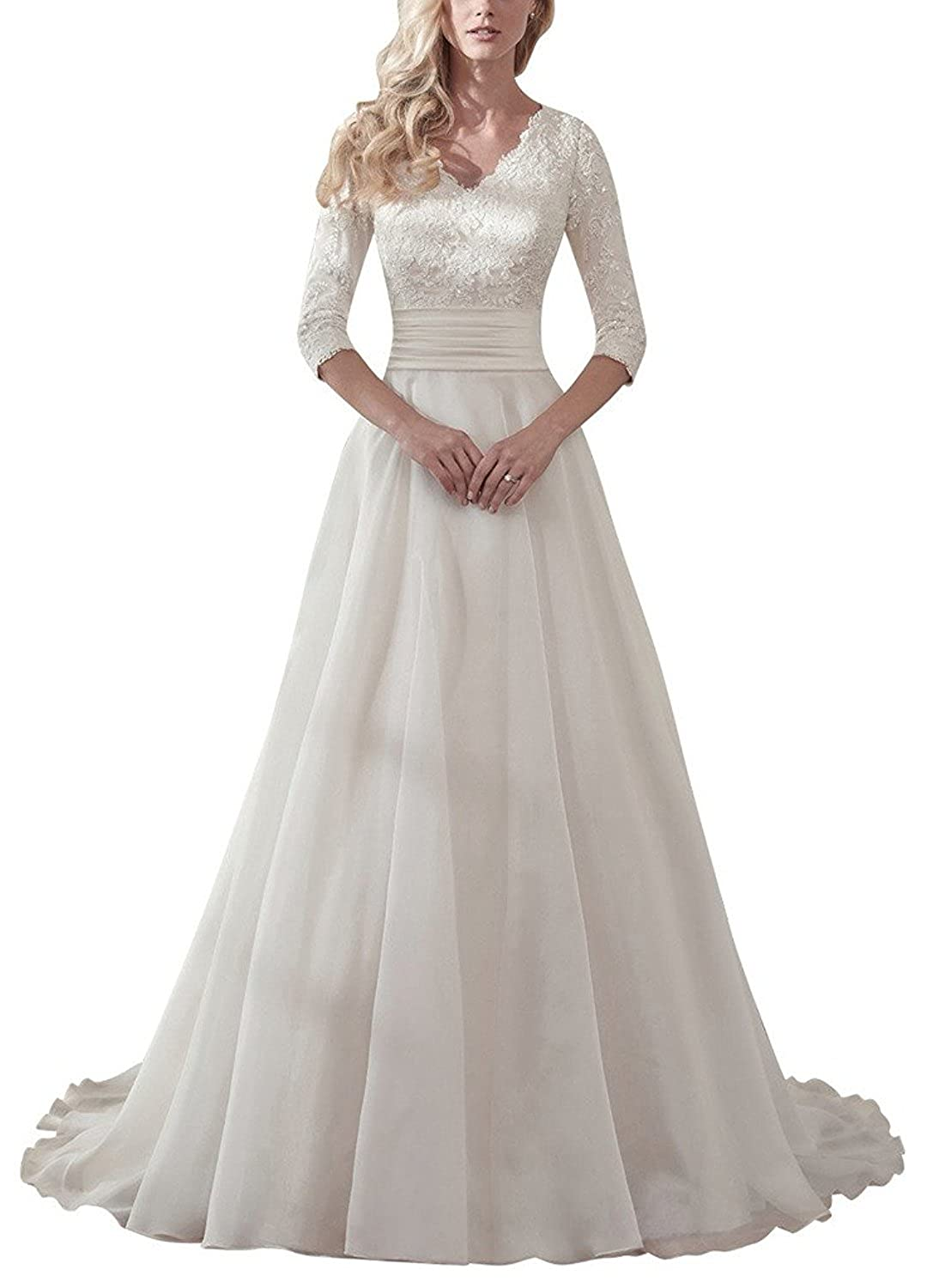 8aea38261 Lace Wedding Dress V Neck Bridal Dresses Aline Bridal Gowns Long Wedding  Gowns at Amazon Women's Clothing store: