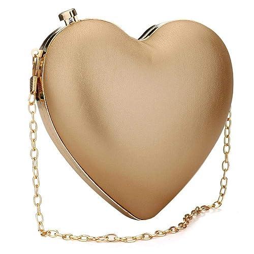 Amazon.com: EROUGE Bolso de embrague con forma de corazón ...