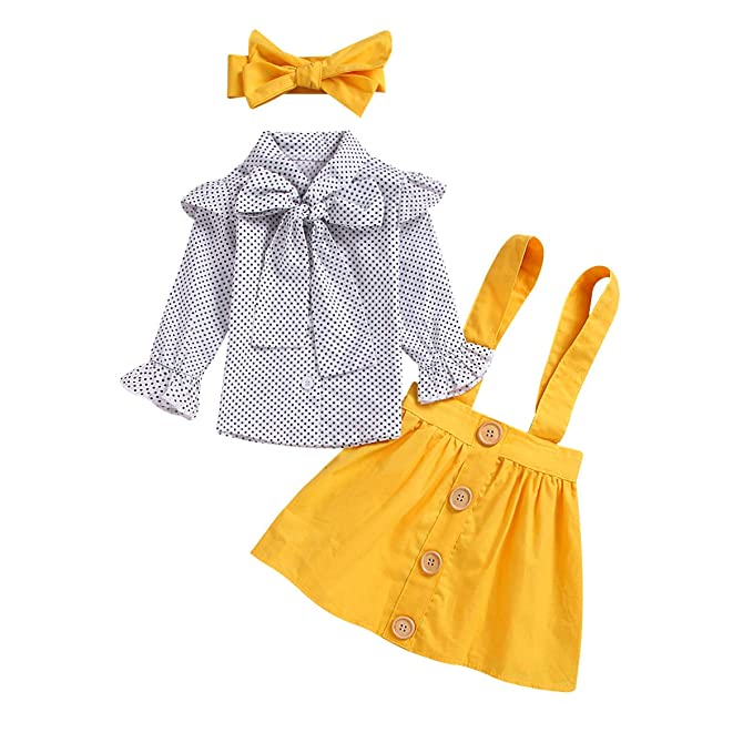 42f689732f57a Toddler Baby Girl Elegant Dot Print Bowknot Shirt + Pure Yellow Overall  Dress Girls Princess Suspender Skirts Set