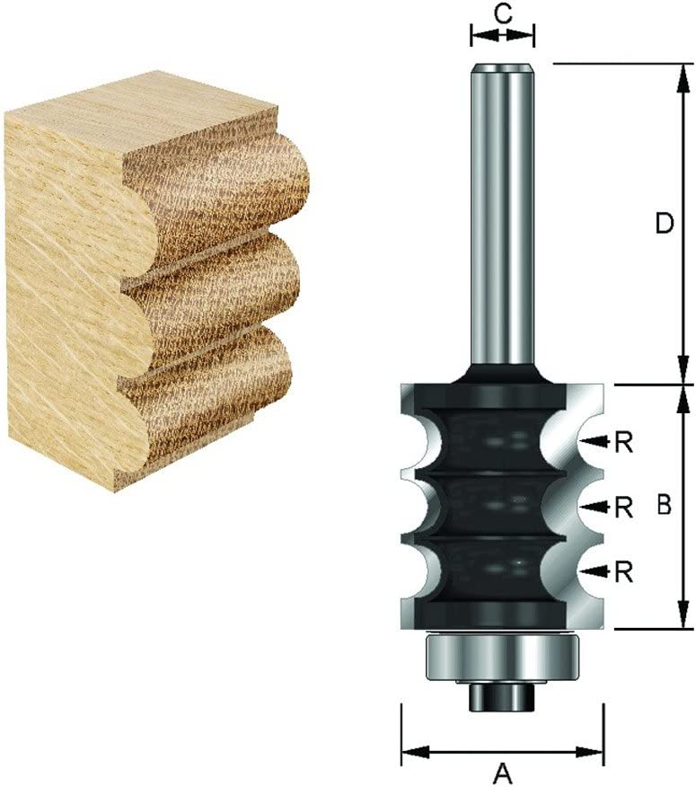 B 25,4 mm ENT Fraise d/écoratifs /à profil Carbure Queue D 32 mm 22,2 mm R 3,2 mm 8 mm avec roulement C A Diam/ètre