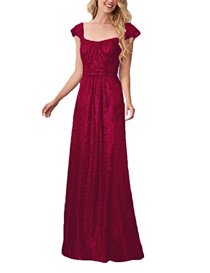 Stillluxury Sequins Bridesmaid Dress Cap Sleeve Square Neck Prom Evening Wedding Party Dresses Burgundy Size 6