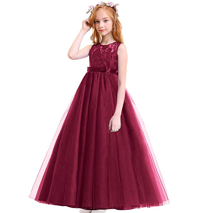 Girls Vintage Lace Bridesmaid Maxi Ball Gown for Wedding Party
