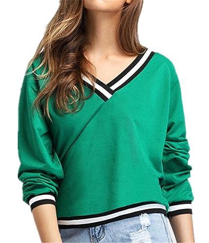 Kerlana T-shirt Mujer Camiseta Rayas Mangas Largas Camisas V Cuello Blusa Elegante Casual Ocasionale...