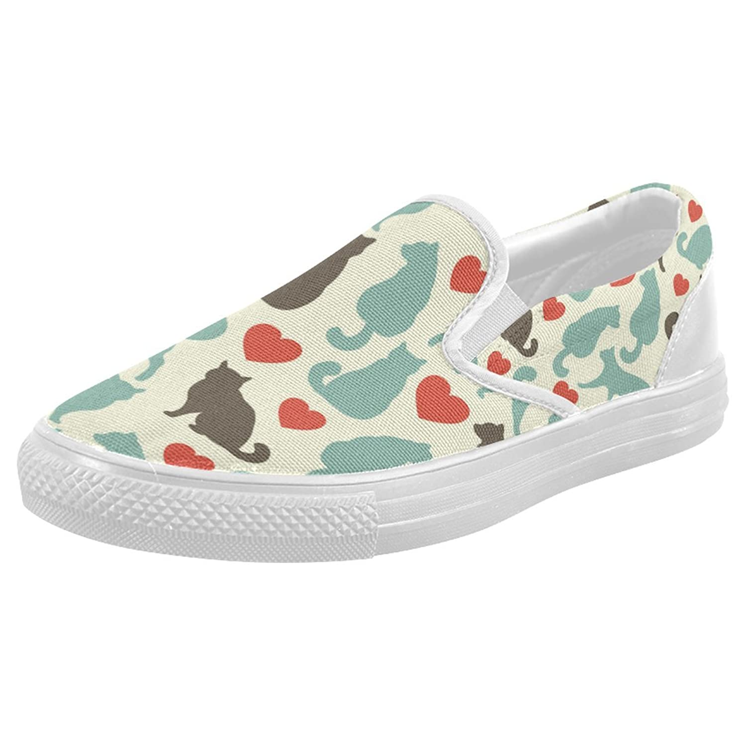 InterestPrint Cute Cat Casual Slip-on Canvas Women's Fashion Sneakers Shoes