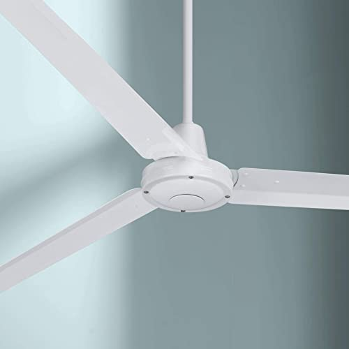 60 Turbina Modern Industrial Ceiling Fan with Remote Control White Damp Rated for Patio Porch – Casa Vieja