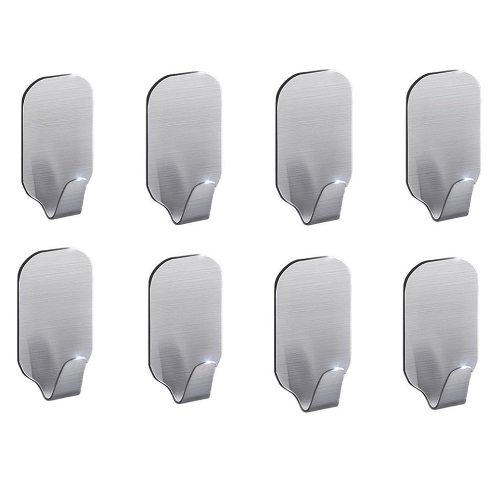 Everyspace 8-Pack Bath Kitchen Hook, 3M Self Adhesive Wall Mount SUS 304 Stainless Steel Hanger for Bathroom Kitchen Towel Accessory
