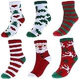 Women's Christmas Fuzzy Socks,Soft Warm Slipper Socks,Non Slip Floor Crew Socks