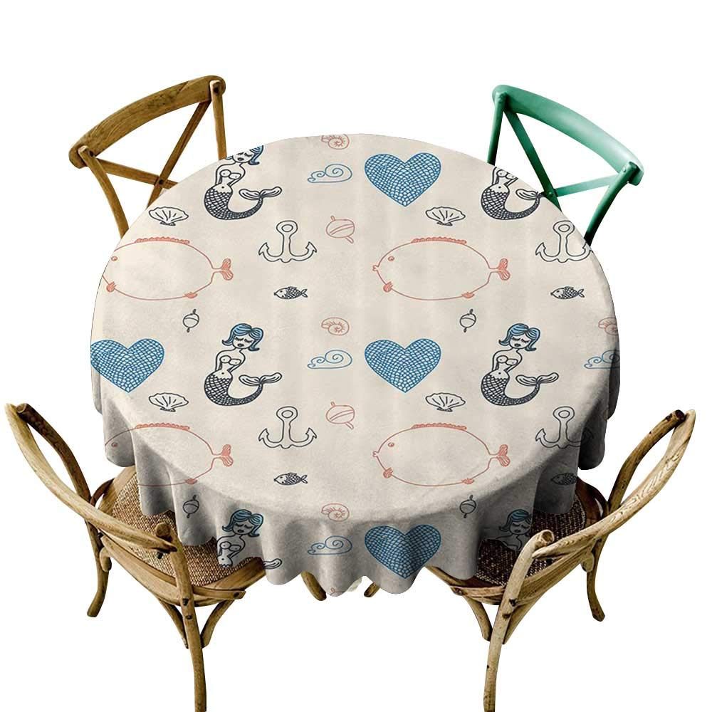 familytaste Kitchen Table Cover Kids Decor,Mermaid Balloon Fish Hearts Sea Objects D 70'' Tablecloths for Outdoor and Indoor by familytaste (Image #2)