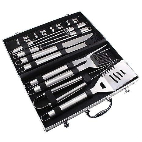 Todeco - Juego de Herramientas de Barbacoa, Juego de Herramientas para Asar a La Parrilla - Material: Aleación de aluminio - Material de la caja: ...