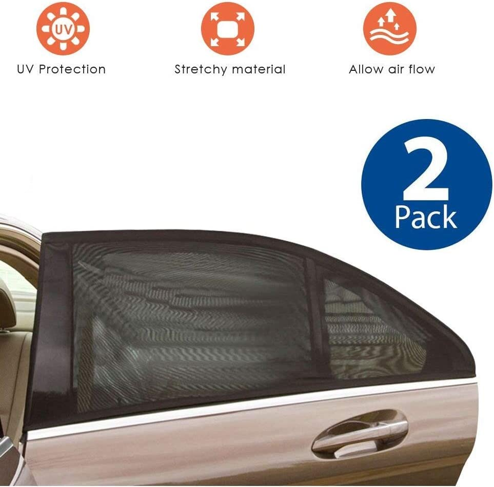 EcoNour Full Breathable Sunshade Mesh Backseat, Protects Your Baby and Older Kids from The Sun for Rear Side Window Shade Fits Most Cars (2 Pack)