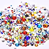 Jollin 3456pcs Flatback Rhinestones Glass Charms Diamantes Gems Stones for Nail Art 6 Size ss4~ss12 Color Mixed