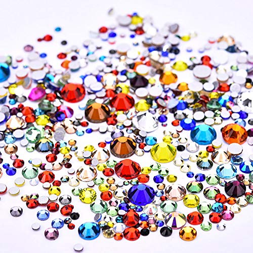 Jollin 3456pcs Flatback Rhinestones Glass Charms Diamantes Gems Stones for Nail Art 6 Size ss4~ss12 Color Mixed