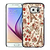 France Paris Love City Eiffel Tower Floral Pattern Black Shell Phone Case for Samsung Galaxy S6,Durable Case