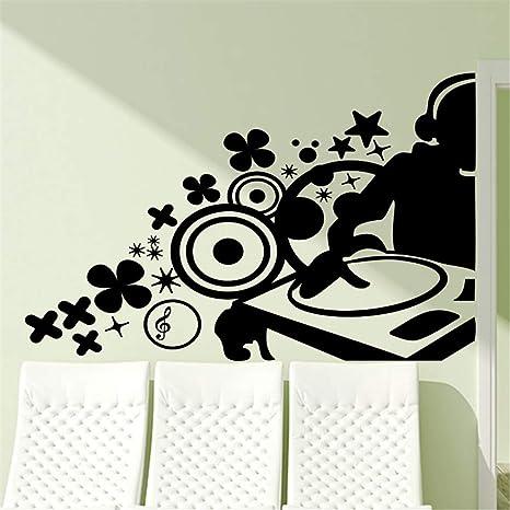 pegatinas de pared fluorescentes DJ de música en tocadiscos para ...