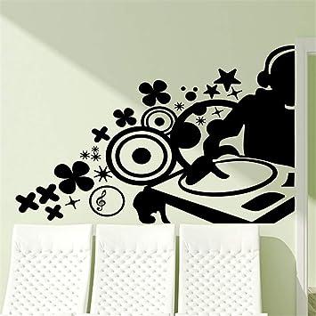 pegatinas de pared fluorescentes DJ de música en tocadiscos ...