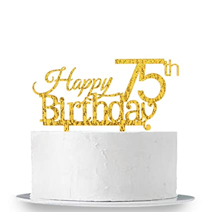 Image Unavailable Not Available For Color INNORU Happy 75th Birthday Cake Topper