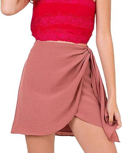 Lannister Fashion Faldas Verano Mujer Elegantes Algodón Y Lino Falda Cintura Alta Asimetricas Irregular Bandage Color Solido Hippie Faldas Cortas Minifalda Ropa Fiesta Moda: Amazon.es: Ropa y accesorios