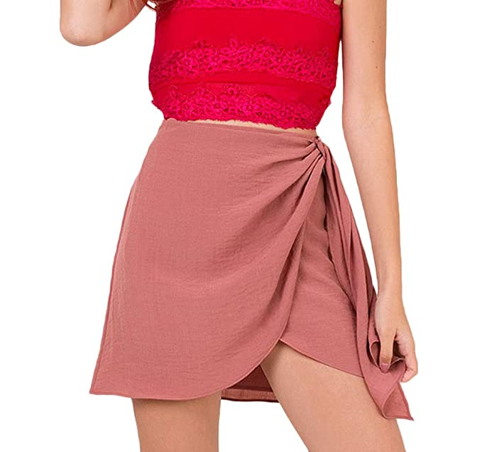 Faldas Verano Mujer Elegantes Algodón Y Lino Falda Cintura Alta Asimetricas Irregular Bandage Señoras Color Solido