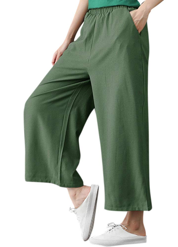 Romacci Woman Casual Loose Wide Leg Pants Elastic Waist Pockets Striped Print Trousers by Romacci (Image #3)