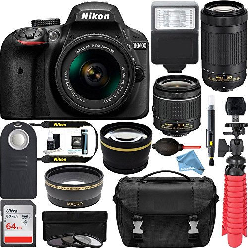 300 Mm Bundle (Nikon D3400 24.2 MP DSLR Camera + AF-P DX 18-55mm & 70-300mm NIKKOR Zoom Lens Kit + 64GB Memory Bundle + Nikon Photo Bag + Wide Angle Lens + 2x Telephoto Lens + Flash + Remote +Tripod+Filters (Black))
