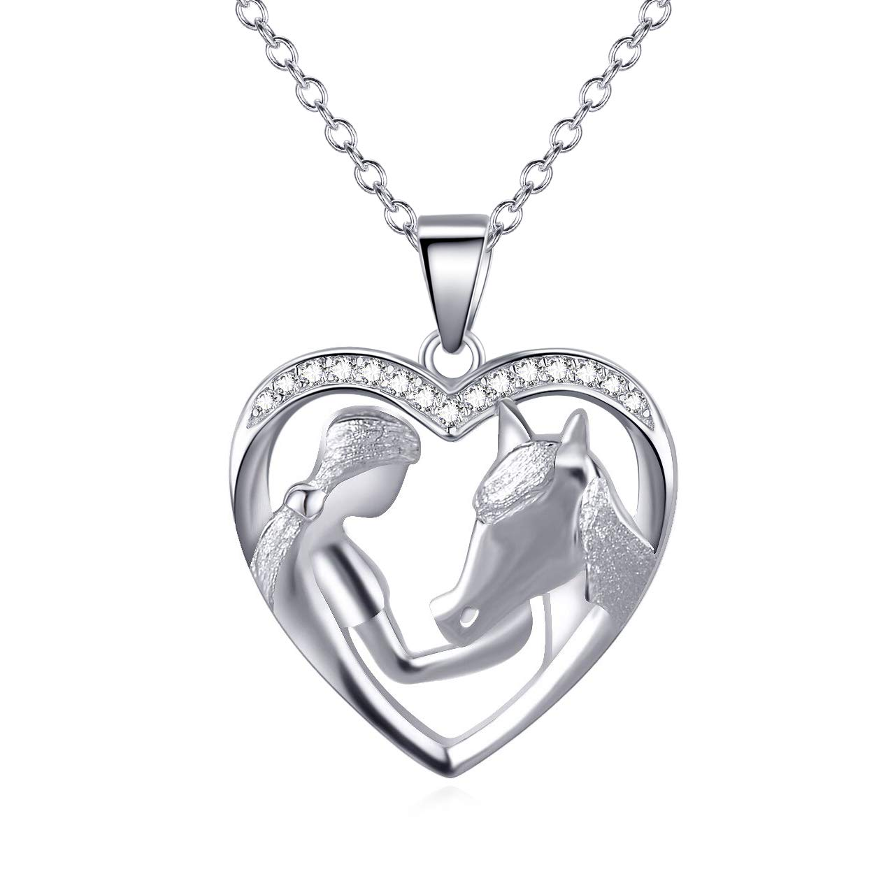 Jewelry for Women Horse Pendant Necklace Girl and Horse Heart Necklace 925 Sterling Silver Wolf Necklace with Unicorn Necklace Gifts for Women Chain 18 Gifts Box