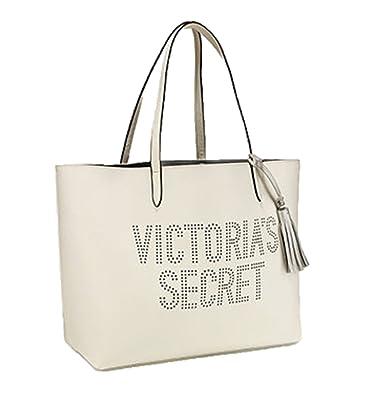 39c23a5ca7db1 Victoria's Secret Double Strap Tote Bag Perforated VS logo White