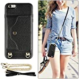 LAMEEKU iPhone 6 Wallet Case, iPhone 6S Case with Credit Card Holder Slot, Women Men Magnetic Protective Leather Purse Phone Case with Crossbody Chain Strap Wrist Strap for iPhone 6/6s 4.7' Black