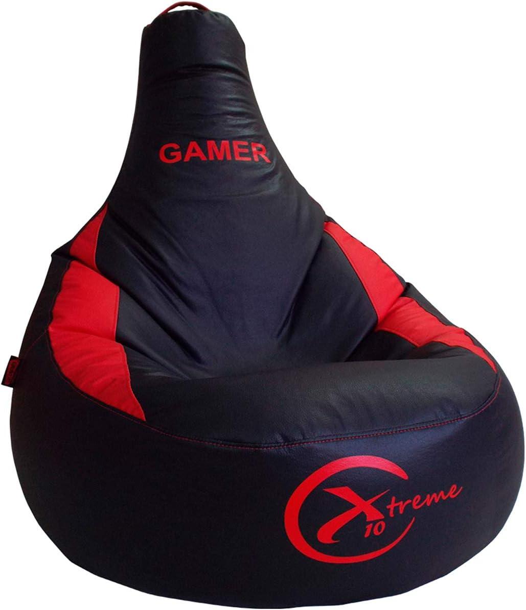 loconfort Nuevo!! Puff Gamer X10 Extreme - Puff XL - Polipiel - Especial Juegos Playstation, Xbox, Wii etc. (XL, Rojo)