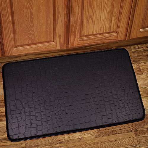 Sweet Home Collection Memory Foam Anti Fatigue Kitchen Floor Mat Rug, Crocodile Black, 30 x 18