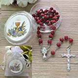 First Holy Communion Scented Rosary Favor Red 12PCS/Recuerdos para Primera Comunion Rosarios with Gift boxes and Organza bags