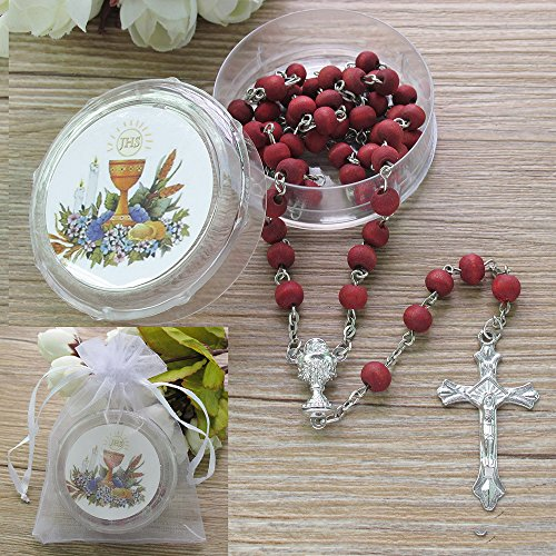 First Holy Communion Scented Rosary Favor Red 12PCS/Recuerdos para Primera Comunion Rosarios with Gift boxes and Organza bags by WE