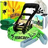 Macaco Slackline Complete Set 52'x 2'' (16 Metre) and Booklet, Super Strong Ratchet With Grip, Tree Protectors and Cotton Bag. Very Easy To Set Up.