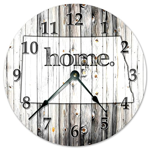 NORTH DAKOTA STATE HOME CLOCK Black and White Rustic Clock - Large 10.5