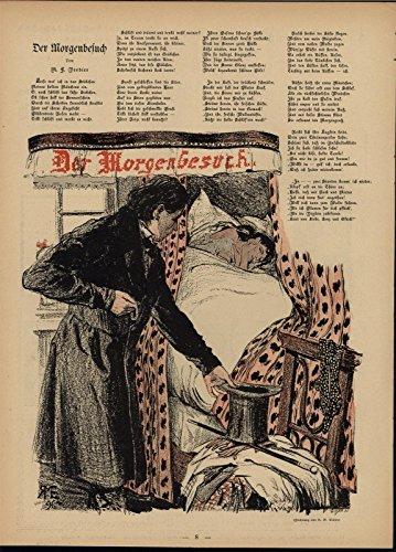 (Beautiful Woman Bedroom Dressed Man Leaving 1896 antique Art Nouveau print)