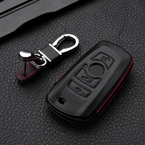 - RoyalFox Genuine Leather 4 Buttons Key Fob case Cover for BMW 1 2 3 4 5 6 7 Series, BMW X3,X4,M2,M3,M4,M5,M6, Car Remote Key Pouch Bag with Key Rings Kit Keychain Holder Metal Hook Black