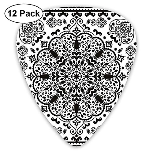 Guitar Picks 12-Pack,Ethnic Mandala Floral Lace Paisley Mehndi Design Tribal Lace Image Art