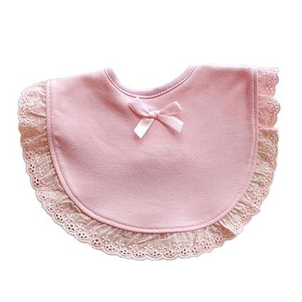 (0-3 años)Koly Bebé recién nacido niños niñas Bowknot encaje baberos Saliva historieta toalla (Rosado)