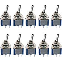 E Support Blue On/Off Mini Miniature Toggle Switch Car Dash Dashboard SPST 2Pin Pack of 10