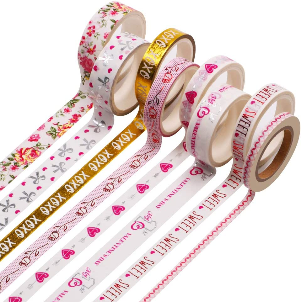Washi Tape Set, 3 Sizes-15mm/10mm/5mm Wide Washi Masking Decorative Tapes 16.4 feet per Roll for Scrapbook, Bullet Journals, Planners, DIY Decor and Craft Supplies (8 Rolls)