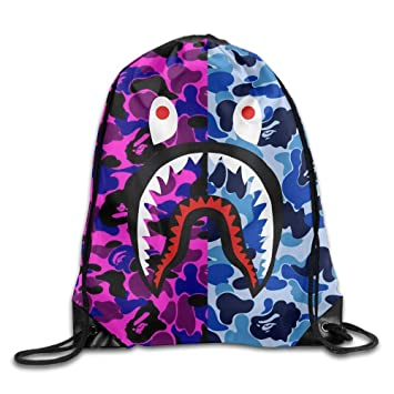 Bape Shark Backpack >> Goniesa Bape Shark Purple Blue Como Drawstring Backpack Sack Pack