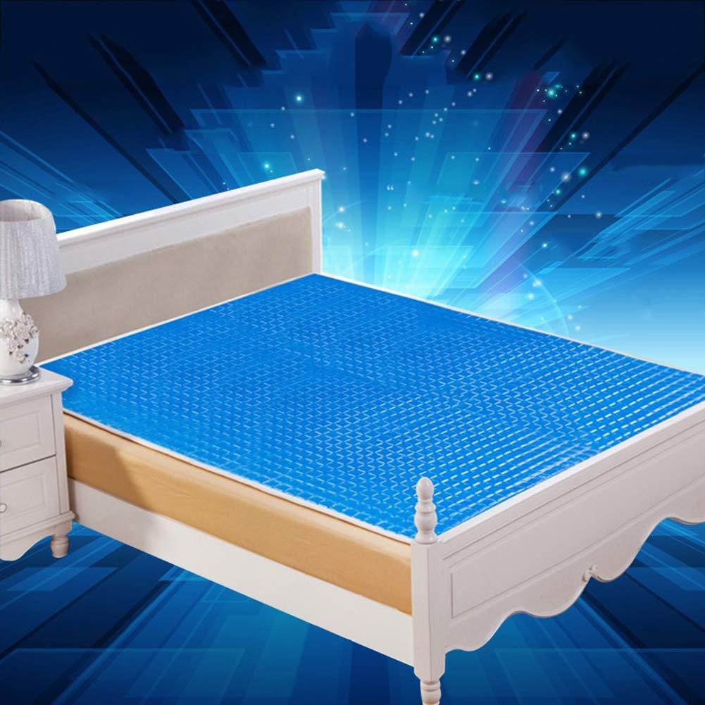 Lbellay Bionic Skin 3D Gel Matte Blau Kariertes Eispad Kältekissen für physikalische Magnetfeldtherapie Weiche und Bequeme Matratze Kühl und atmungsaktiv,Blue-90 * 180 cm