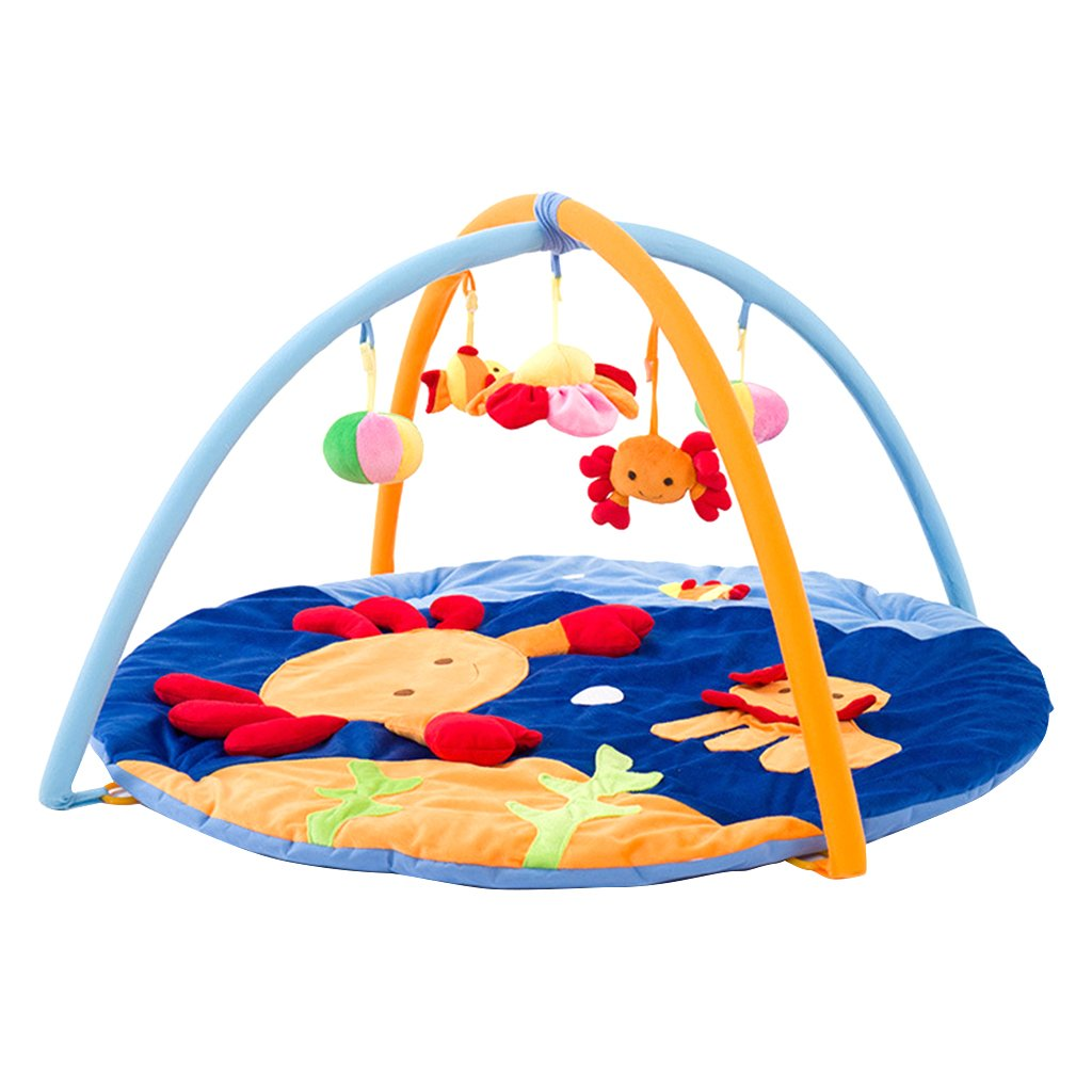 Jili Online Baby Gym Activity Soft Cotton Musical Playmat Play Mat with toys for Boy or Girl - Crab, as described
